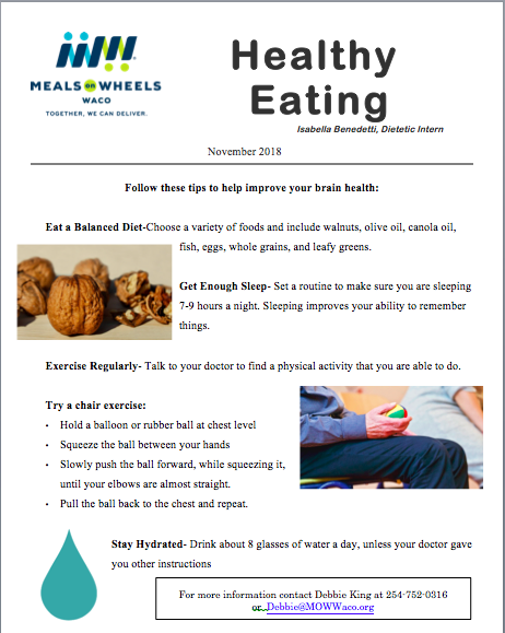 Healthy Eating Newsletter I created