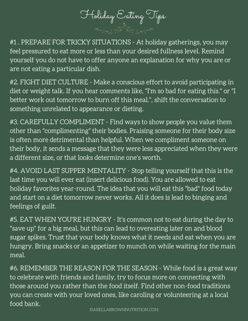 Handout on holiday eating tips.